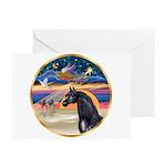 xmas Star / Arabian Horse (black) Greeting Cards (