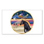 xmas Star / Arabian Horse (black) Sticker (Rectang