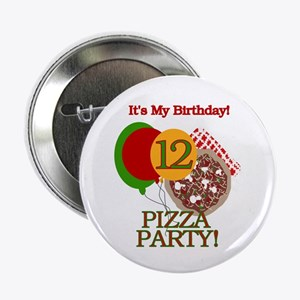 12th Pizza Party Birthday Button
