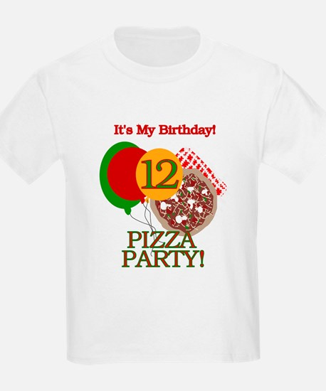 12th Pizza Party Birthday Kids T-Shirt