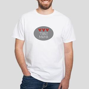 Triplet Mama Hearts White T-Shirt