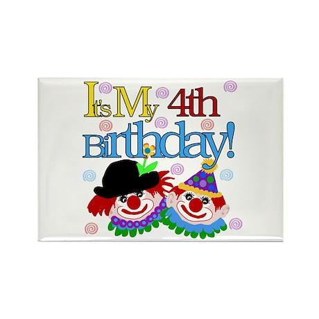 Clown 4th Birthday Rectangle Magnet