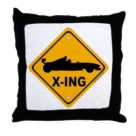 Race Car X-ing Throw Pillow