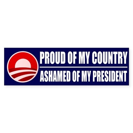 Ashamed Of Obama Bumper Sticker