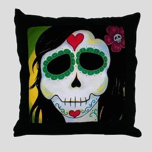 Madame Le Fee Sugar Skull Throw Pillow
