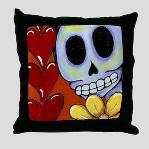 Calavera Hearts & Flowers Throw Pillow