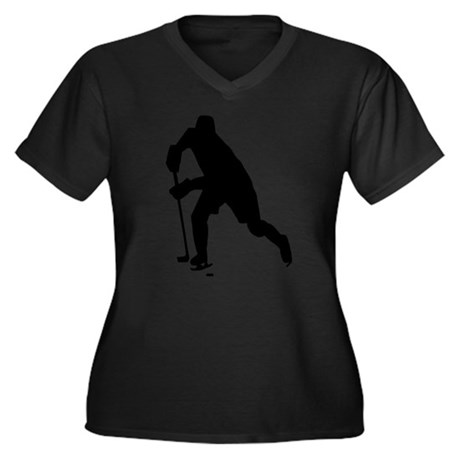 Hockey Women's Plus Size V-Neck Dark T-Shirt