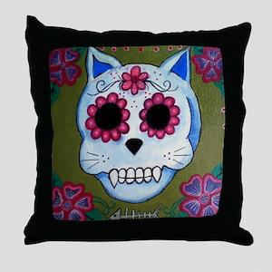 El Gato Sugar Skull Throw Pillow