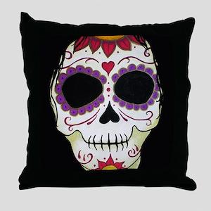 Banshee Sugar Skull Throw Pillow