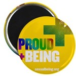 Proud Being Rainbow Yellow Circle Magnets