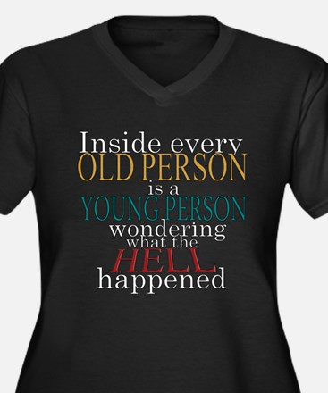 Inside any old person is a yo Women's Plus Size V-