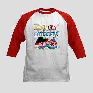 Clown 6th Birthday Kids Baseball Jersey