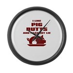BBQ: I Like Pig Butts Large Wall Clock