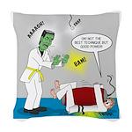 Monster Karate Woven Throw Pillow