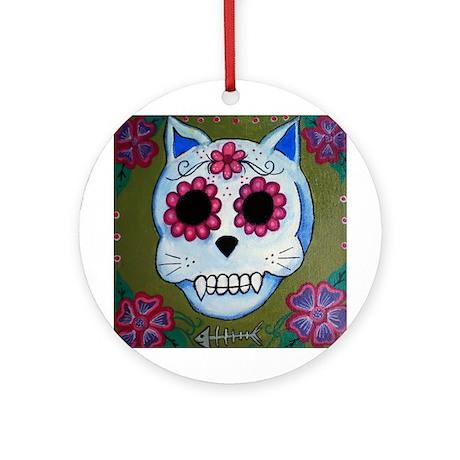 El Gato Sugar Skull Ornament (Round)