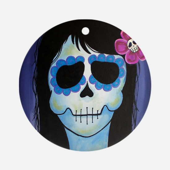 La Blue Verte Sugar Skull Ornament (Round)
