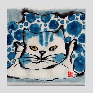 Tie Dye Cat Tile Coaster