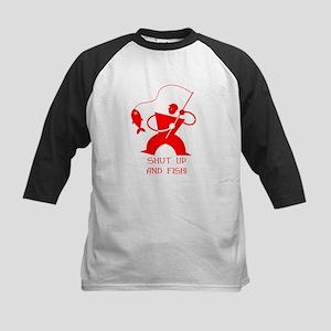 Shut Up And Fish! Kids Baseball Jersey