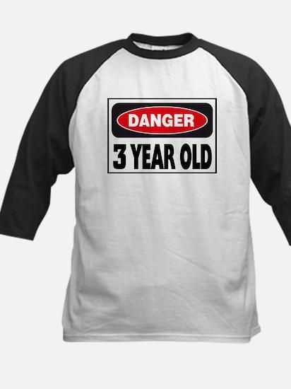 3 Year Old Danger Sign Kids Baseball Jersey