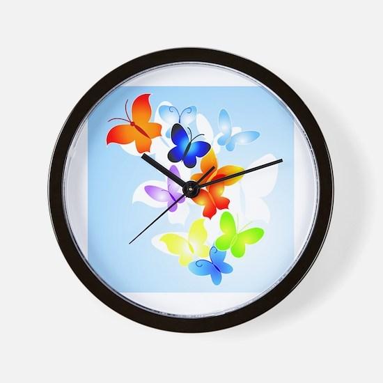 RAINBOW of BUTTERFLIES Wall Clock