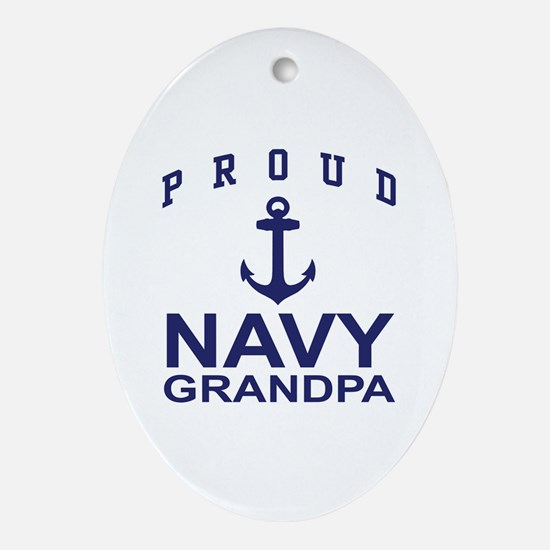 Proud Navy Grandpa Oval Ornament