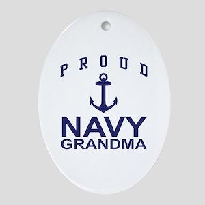 Proud Navy Grandma Oval Ornament