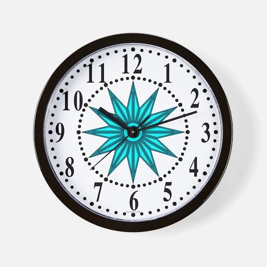Cyan Guiding Star 1 Wall Clock