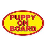 Puppy on board Oval Sticker (10 pk)