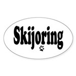 Skijoring Oval Sticker