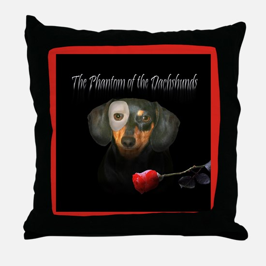 Phantom Doxie Throw Pillow