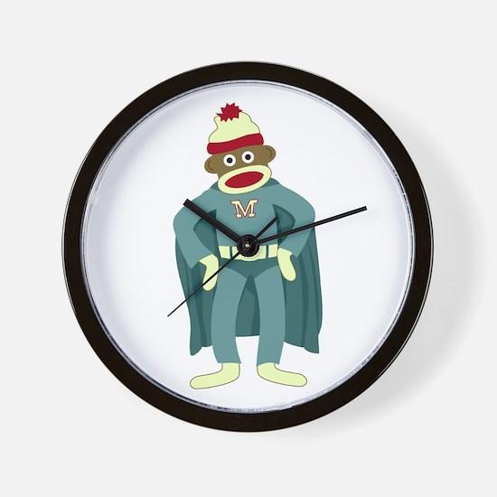 Sock Monkey Superhero Wall Clock