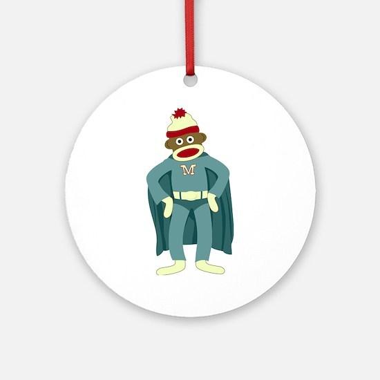 Sock Monkey Superhero Ornament (Round)