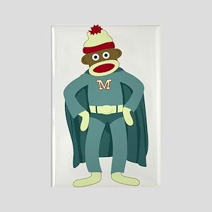 Sock Monkey Superhero Rectangle Magnet