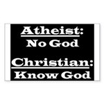 Atheism and Christian Rectangle Sticker