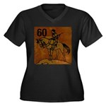 60th Birthday Women's Plus Size V-Neck Dark T-Shir