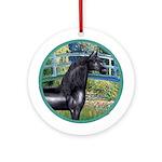 Bridge/Arabian horse (blk) Ornament (Round)