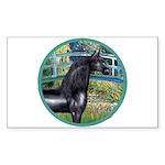 Bridge/Arabian horse (blk) Rectangle Sticker