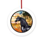 Garden/Arabian horse (blk) Ornament (Round)