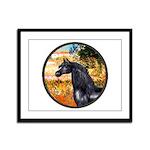 Garden/Arabian horse (blk) Framed Panel Print