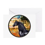 Garden/Arabian horse (blk) Greeting Cards (Pk of 1