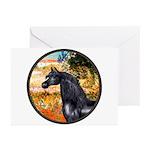 Garden/Arabian horse (blk) Greeting Cards (Pk of 2