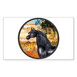 Garden/Arabian horse (blk) Rectangle Sticker 10 p