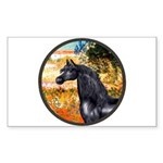 Garden/Arabian horse (blk) Rectangle Sticker