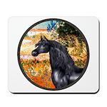 Garden/Arabian horse (blk) Mousepad