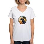 Garden/Arabian horse (blk) Women's V-Neck T-Shirt