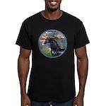 Lilies/Arabian horse (blk) Men's Fitted T-Shirt (d