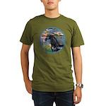 Lilies/Arabian horse (blk) Organic Men's T-Shirt (