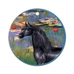 Lilies/Arabian horse (blk) Ornament (Round)