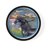 Lilies/Arabian horse (blk) Wall Clock