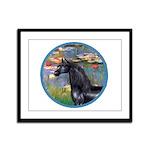 Lilies/Arabian horse (blk) Framed Panel Print